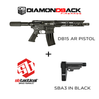 DB15 PISTOL & SB Tactical SBA3 Black Combo Diamondback Firearms DB15 Pistol with SBA 3 Black Combo