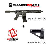 DB15 PISTOL & SB Tactical SBM4 Black Combo Diamondback Firearms DB15 Pistol with SBM4 Black Combo
