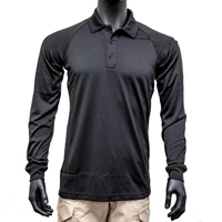 Mens Performance Long Sleeve Polo - Black