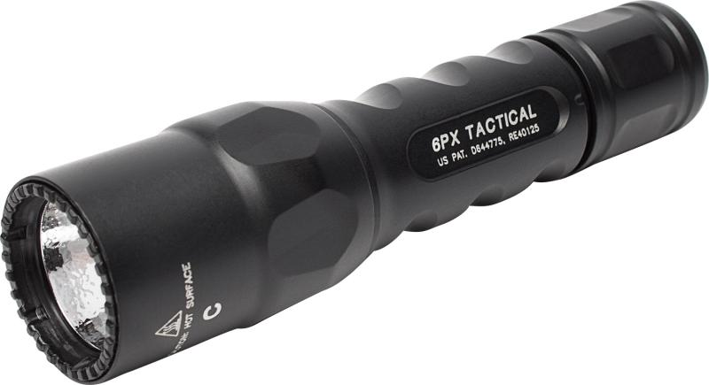 FL, 6PX TACTICAL, 6V, SINGLE STAGE 600 LU, WH LED, ALUM. BLACK TYPE III ANO, CLICK SWITCH