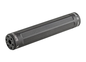 THREAD-ON SOUND SUPPRESSOR, FOR USE WITH .22 LR, .22 MAG & 17 HMR AMMUNITION, THREADS DIRECTLY TO 1/2-28 THREADED BARRELS, STAINLESS STEEL BAFFLE CONSTRUCTION, BLACK HARD ANODIZED FINISH