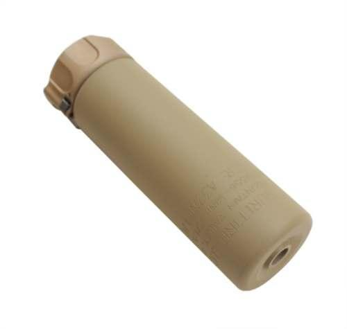 2ND GEN SOCOM SUPPRESSOR, HIGH TEMPERATURE ALLOY CONSTRUCTION, FOR USE WITH 5.56 CALIBER AMMUNITION, DARK EARTH FINISH