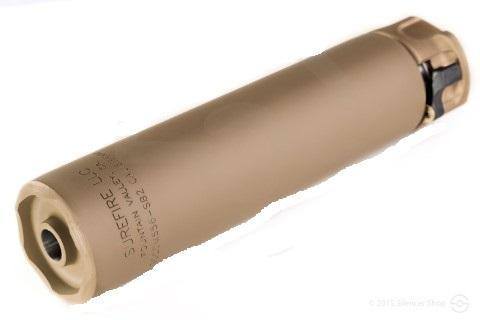 "2ND GEN SOCOM SUPPRESSOR, HIGH TEMPERATURE ALLOY CONSTRUCTION, FOR USE WITH 5.56 CALIBER AMMUNITION, FOR BARRELS SHORTER THAN 10"", DARK EARTH FINISH"