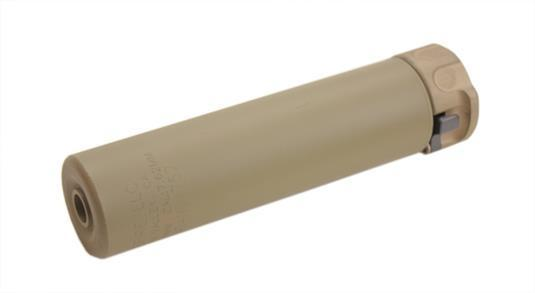 2ND GEN SOCOM SUPPRESSOR, HIGH TEMPERATURE ALLOY CONSTRUCTION, FOR USE WITH 7.62 CALIBER AMMUNITION, DARK EARTH FINISH