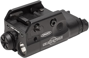 COMPACT PISTOL LIGHT WITH LASER, 5Mw, 635 nM, RED 1.5V, WEDGE LOCK UNIVERSAL RAIL MOUNT, ONE AAA BATTERY, TYPE III ANODIZED ALUMINUM, BLACK